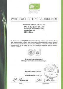 WHG-Fachbetriebsurkunde - swbecker fizieller Fachbetrieb nach §62